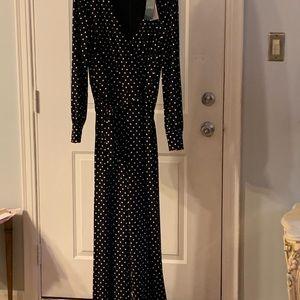 Lauren Blk/wht Polka Dot flare jumpsuit